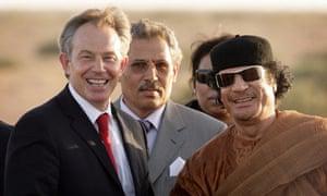 Prime Minister Tony Blair (L) meets with Colonel Muammar Abu Minyar al-Gaddafi on May 29, 2007 in Sirte, Libya.