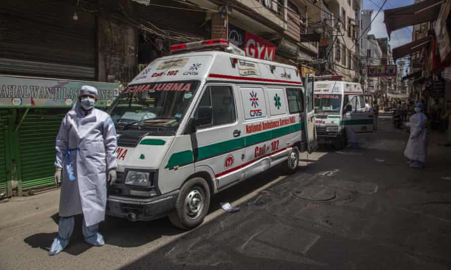 Ambulances waiting to take members of the Islamic group Tablighi Jamaat to a quarantine facility.
