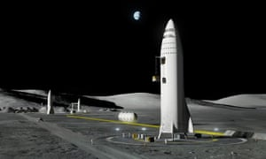 An artist's image of a Space X lunar rocket. The company aims to fly two tourists around the moon in 2018.