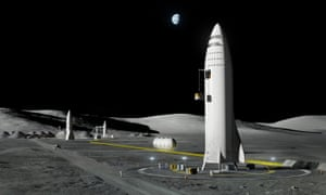 An artist's rendering of SpaceX's new mega-rocket design on the moon.