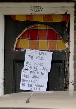 A note written by the residents of the house in Quantock Street in the Moss Side which was raided by police on Sunday.