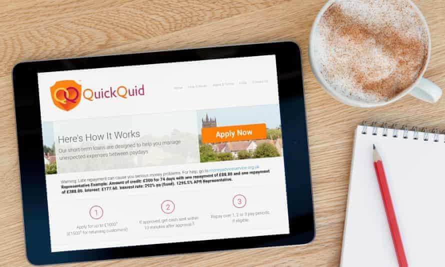 QuickQuid website on a tablet computer