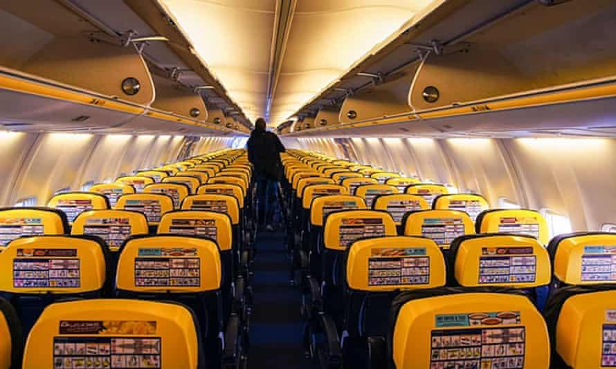 Empty cabin of Ryanair plane