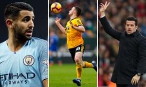 Riyad Mahrez of Manchester City; Diogo Jota of Wolves; Marco Silva of Everton