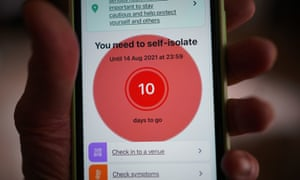 A message to self-isolate on the NHS contact tracing app on a mobile phone in London