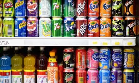 Shelves of fizzy drinks