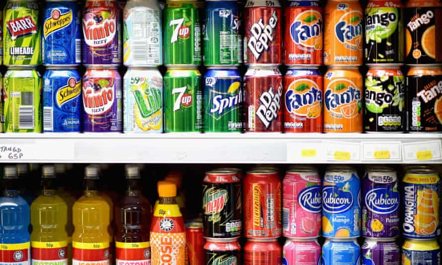 Sugary drinks on a supermarket shelf