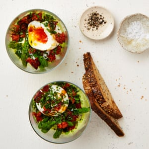 All-day breakfast: Yotam Ottolenghi's soft-boiled egg with avocado, chorizo and asparagus.