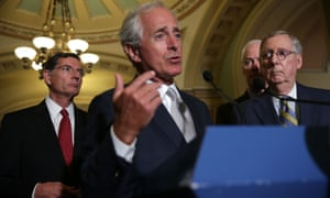 Republican Senate leaders speak to the press after their weekly policy luncheon