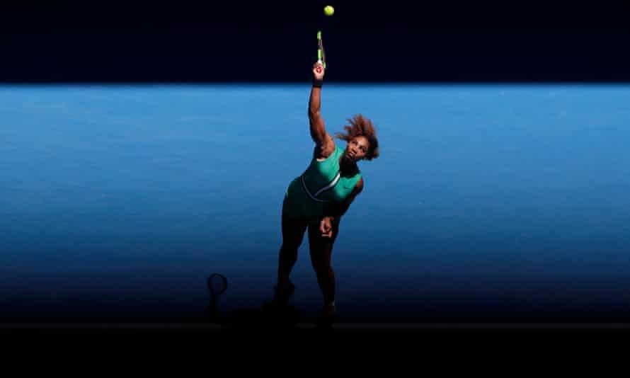 Serena Williams serves against Dayana Yastremska.