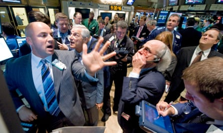 Traders on the floor of the New York Stock Exchange, in September 2008.
