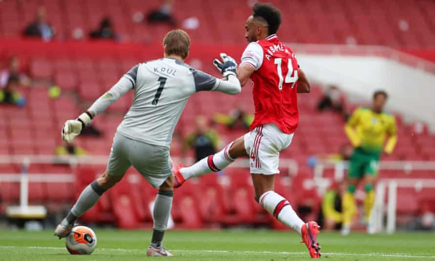 Tim Krul sees his clearance blocked by Aubameyang for Arsenal's first goal