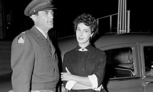 Rita Gam with Gregory Peck during the filming of the political thriller Night People in Berlin in 1953.