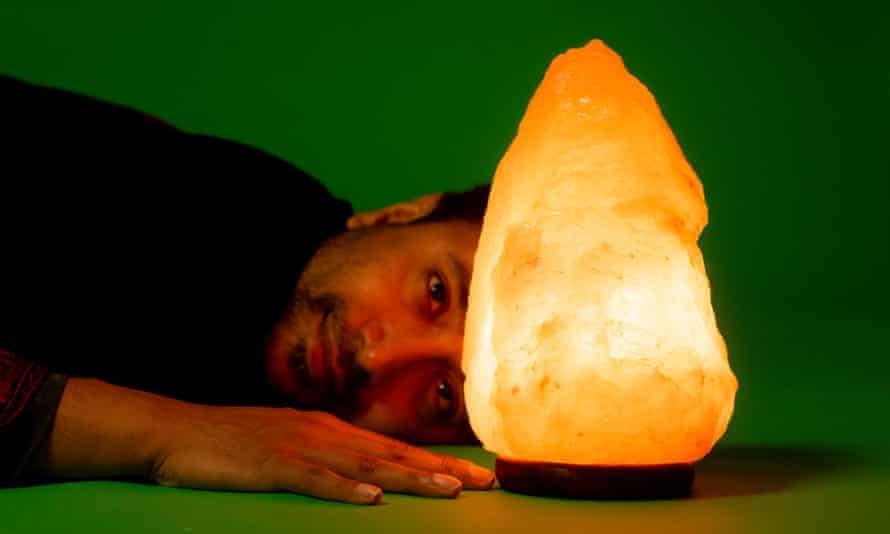 Rhik Samadder with his Glow Himalayan natural salt lamp.