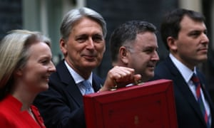Philip Hammond, chancellor of the Exchequer, holds the red budget box outside No 11 Downing Street.