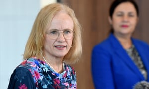 Jeannette Young, with Annastacia Palaszczuk in the background, at today's Covid briefing