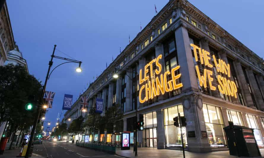 Selfridges advertises its sustainability initiative, Project Earth, in 2020.
