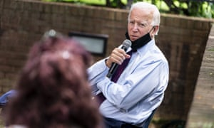 Democratic presidential candidate Joe Biden speaks to families who have benefited from the Affordable Care Act during an event in Pennsylvania.