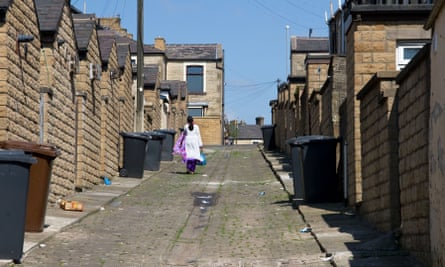Back alleyway of terraced housing, Nelson, Burnley, Lancashire, England, UK