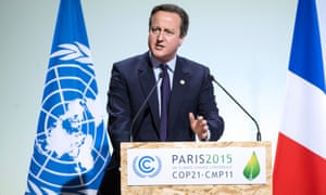 David Cameron delivers a speech as he attends Heads of States' Statements ceremony of the COP21 World Climate Change Conference 2015.