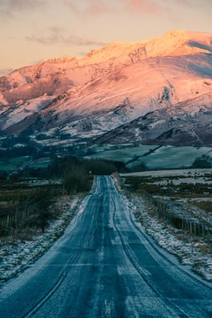 Road leading to Blencathra Mountain early morning
