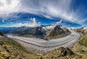 Aletsch Glacier, SwitzerlandThe largest glacier in Europe is 23km long and covers an area of about 80 sq km. It is formed by the merger of four smaller glaciers that originate on the southern flanks of the Jungfrau and Monch mountains.