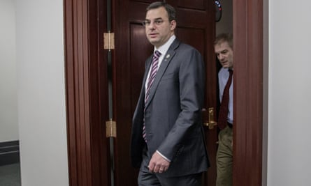 Justin Amash and Jim Jordan leave a closed-door strategy session with Speaker of the House Paul Ryan, in March.