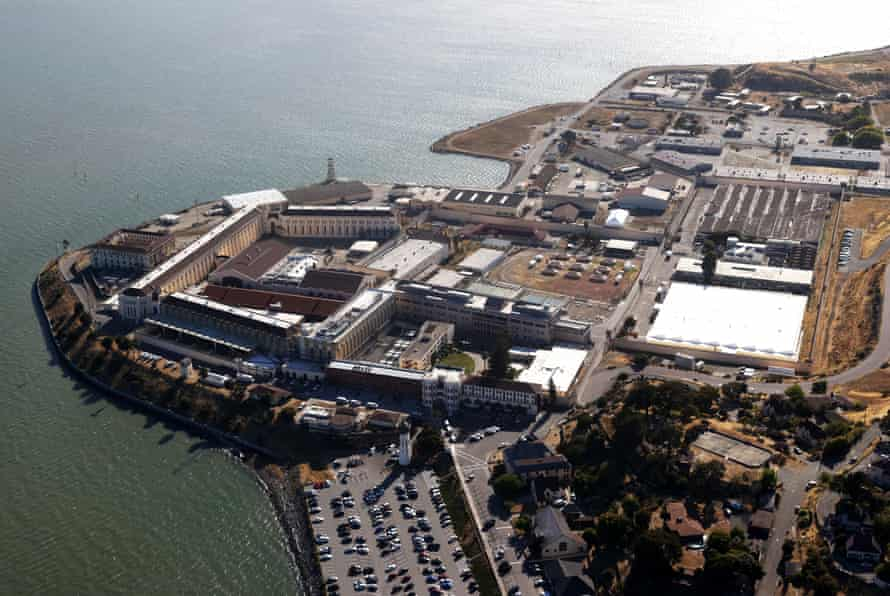 An aerial view of San Quentin state prison.