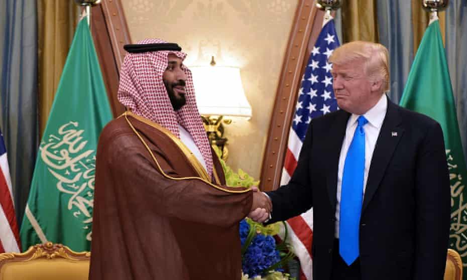 Donald Trump and the Saudi crown prince, Mohammad bin Salman, take part in a bilateral meeting at a hotel in Riyadh.