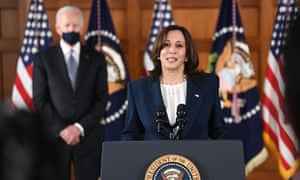 Kamala Harris last week. She said earlier on Wednesday that she and Biden would both visit the border at some point.
