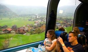 The Golden Pass train between Lucerne and Brienz in Switzerland.