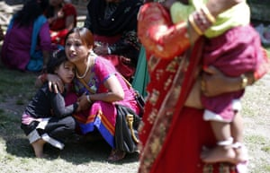 People run for open space as a 7.3-magnitude earthquake strikes Nepal 17 days after another devastating tremor. The quake was felt over the border in the neighbouring Indian state of Bihar, as well as in Delhi.
