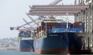 Ships docked at the Port of Long Beach in California. Markets fell on Friday after President Trump threatened to pull the US out of the World Trade Organization