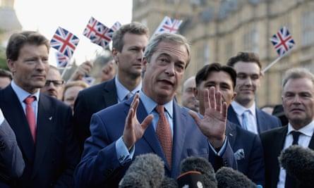 Nigel Farage, then leader of Ukip, after the EU referendum in 2016