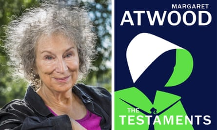 Margaret Atwood and the cover art for her Handmaid's Tale sequel.