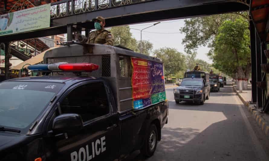 Police on patrol in Lahore, Pakistan.