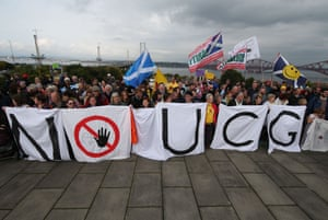 A 2015 rally against underground coal gasification at Forth Road Bridge, Firth of Forth, Scotland.
