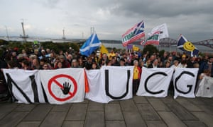 Demonstrators protest against underground coal gasification in Scotland