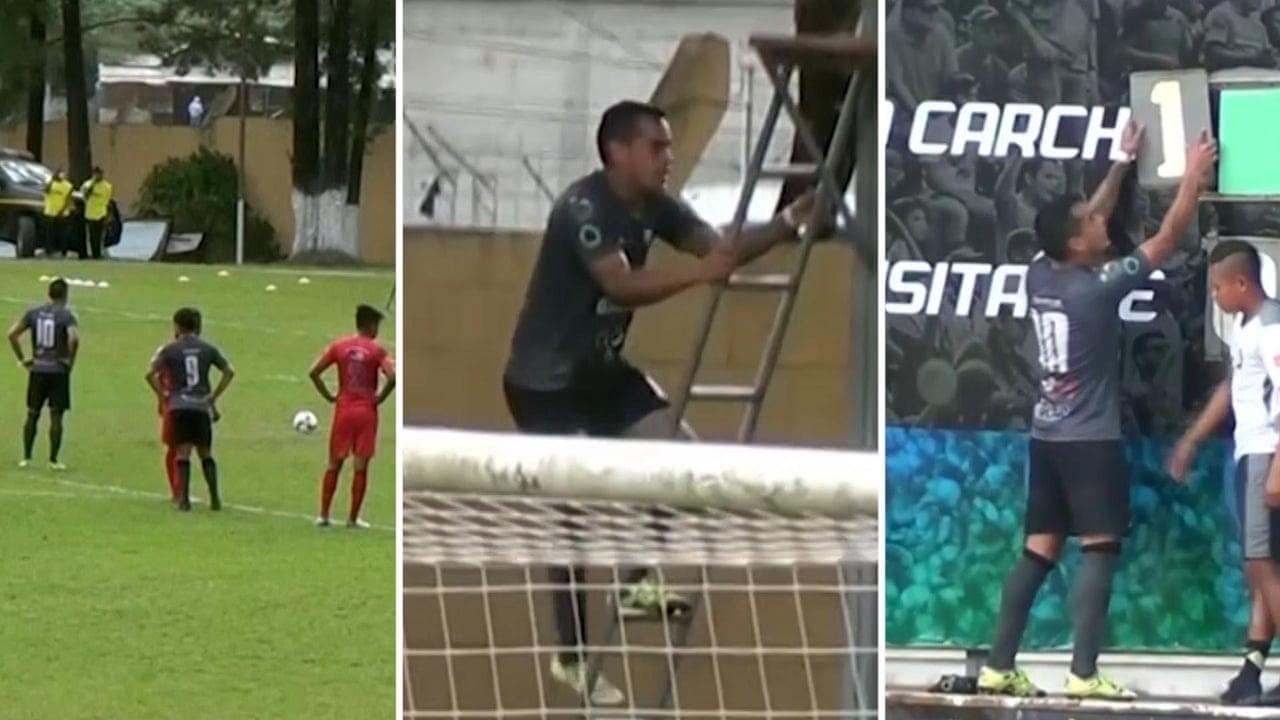200760c2fcd Goalscorer celebrates by climbing ladder and changing scoreboard – video