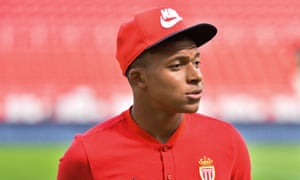 Kylian Mbappé before Monaco's game against Dijon.