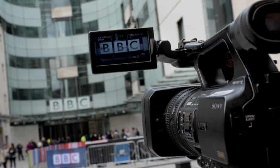 A TV camera outside BBC Broadcasting House in Portland Place, London