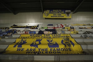 Flags in the home end, which is still under construction.