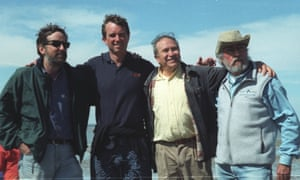 Joel Reynolds (NRDC), Robert F. Kennedy Jr., Homero Aridjis and Jean-Michel Cousteau (Ocean Futures Society) celebrating the cancellation of the saltworks project at San Ignacio Lagoon and a victory for the gray whale after five years of campaigning, San Ignacio Lagoon, March 2000.