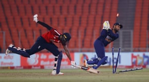 England's Jofra Archer is run out by India's Rishabh Pant.
