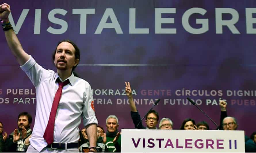 Pablo Iglesias, leader of Podemos, punches the air