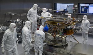 The European Space Agency's ExoMars rover being prepared to leave Airbus in Stevenage.