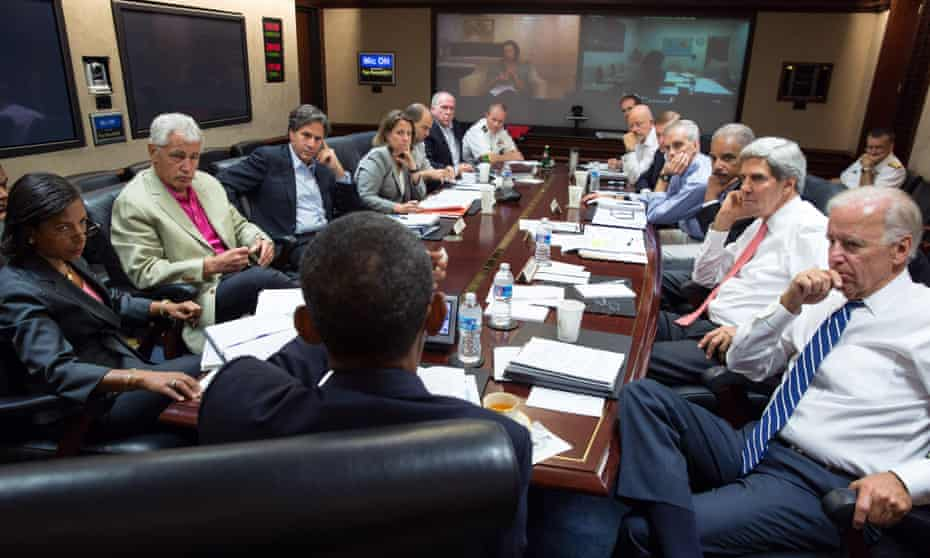 President Barack Obama, centre, meets in the Situation Room with his national security advisers to discuss strategy in Syria in August 2013. Two years later the US is no nearer a successful strategy.