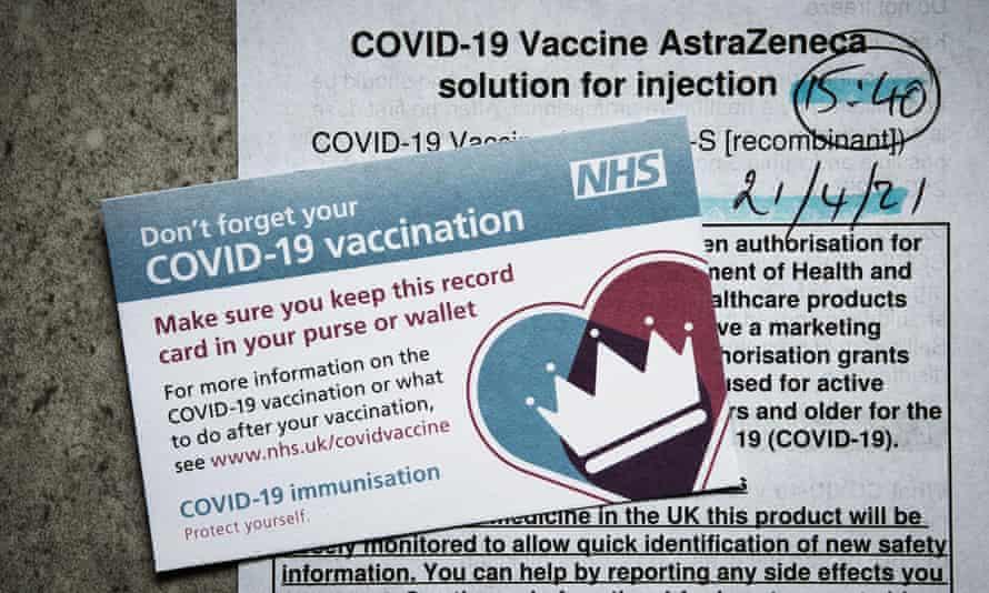 A UK Covid-19 vaccination record card.