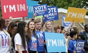 Supporters of the Vote Remain campaign.