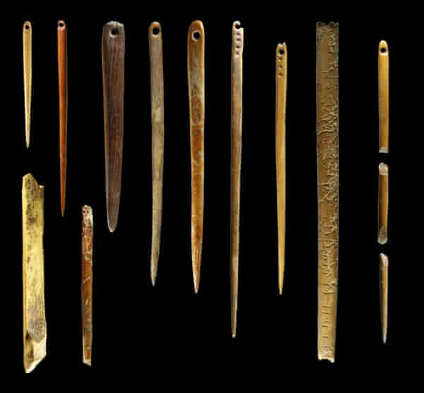 Walrus ivory needles found at the Yana Rhinoceros Horn archaeological site in Siberia.